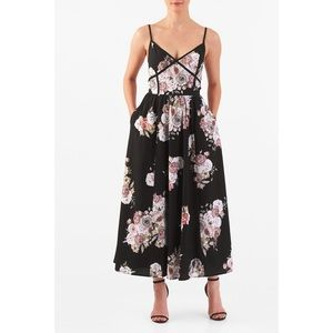 eShakti Floral Print Crepe Midi Dress